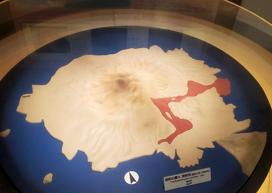 桜島ビジターセンターにある、昭和噴火の説明