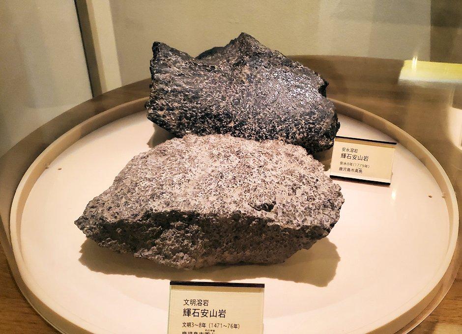 桜島ビジターセンターにある、過去の噴火の際に出た火山岩-1