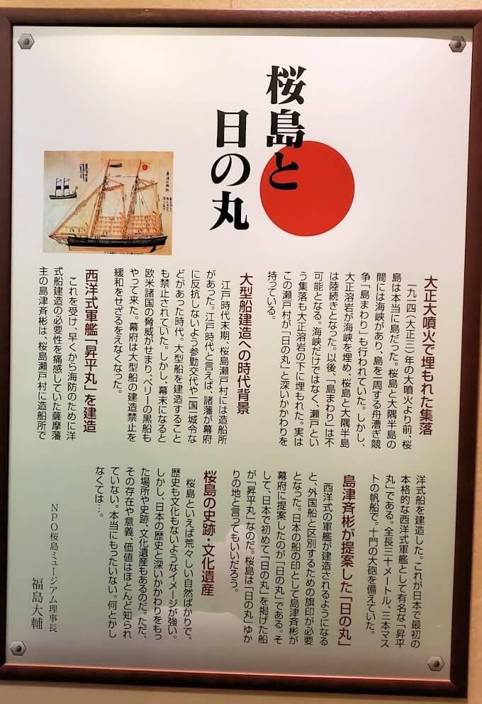 桜島ビジターセンターにある、昇平丸のパネル