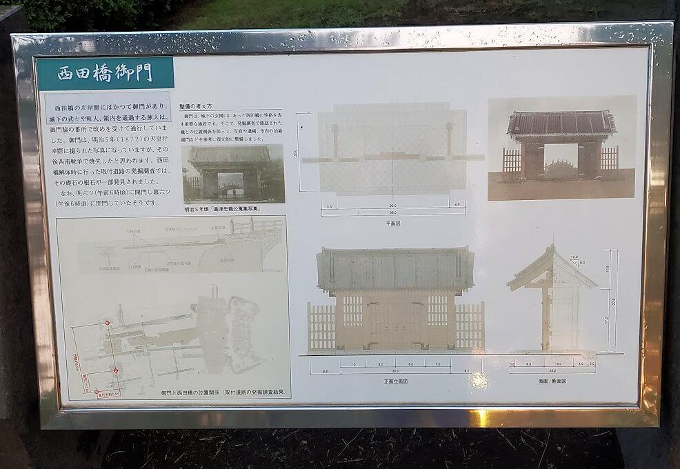 石橋記念公園に架かる西田橋脇にある門