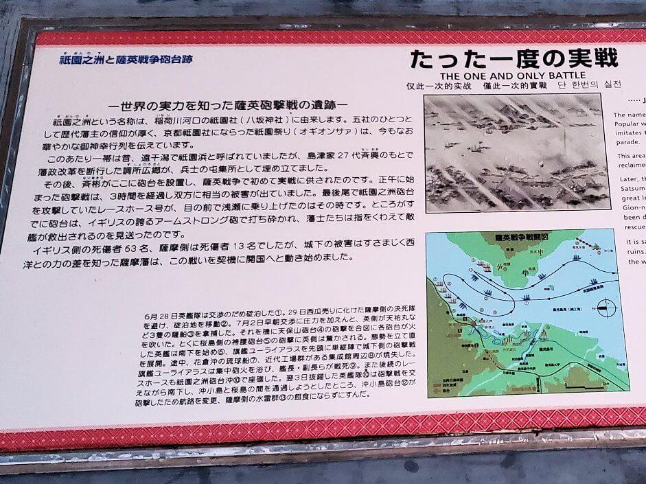 祇園之洲公園にある薩摩藩の砲台跡の景色の説明