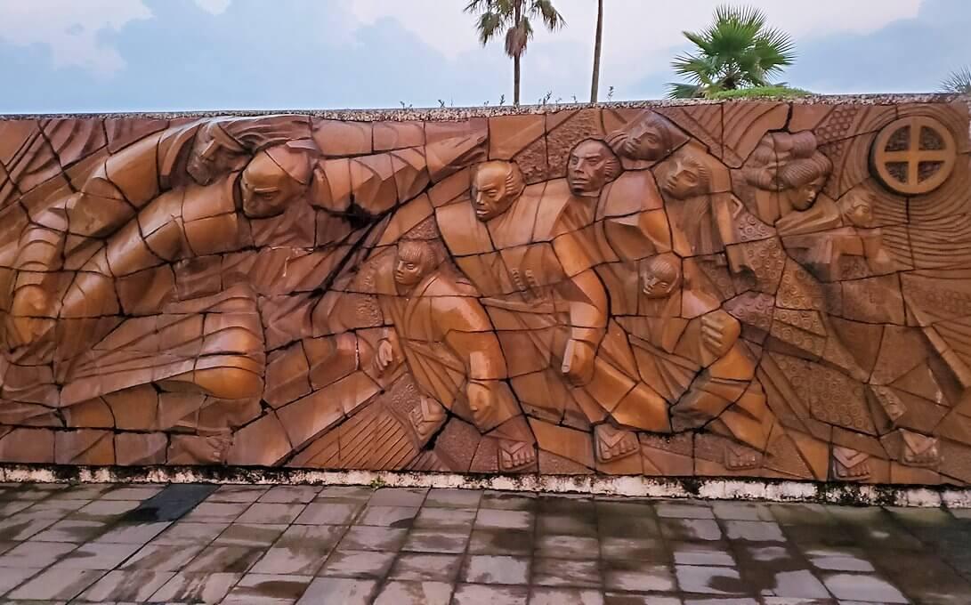 石橋記念公園にあるザビエル上陸記念碑にあったレリーフ