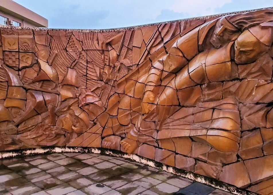 石橋記念公園にあるザビエル上陸記念碑にあったレリーフ-1