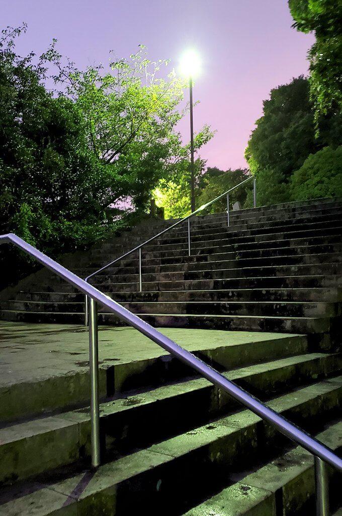 鹿児島市内北側の多賀山に入る暗い道を進む-1