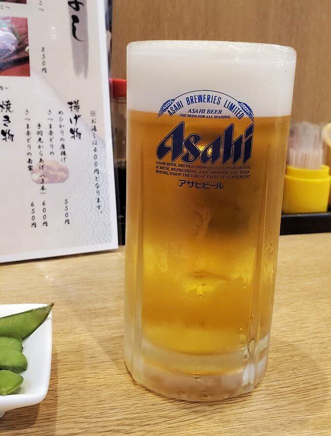 天文館の居酒屋「竹よし」の生ビール