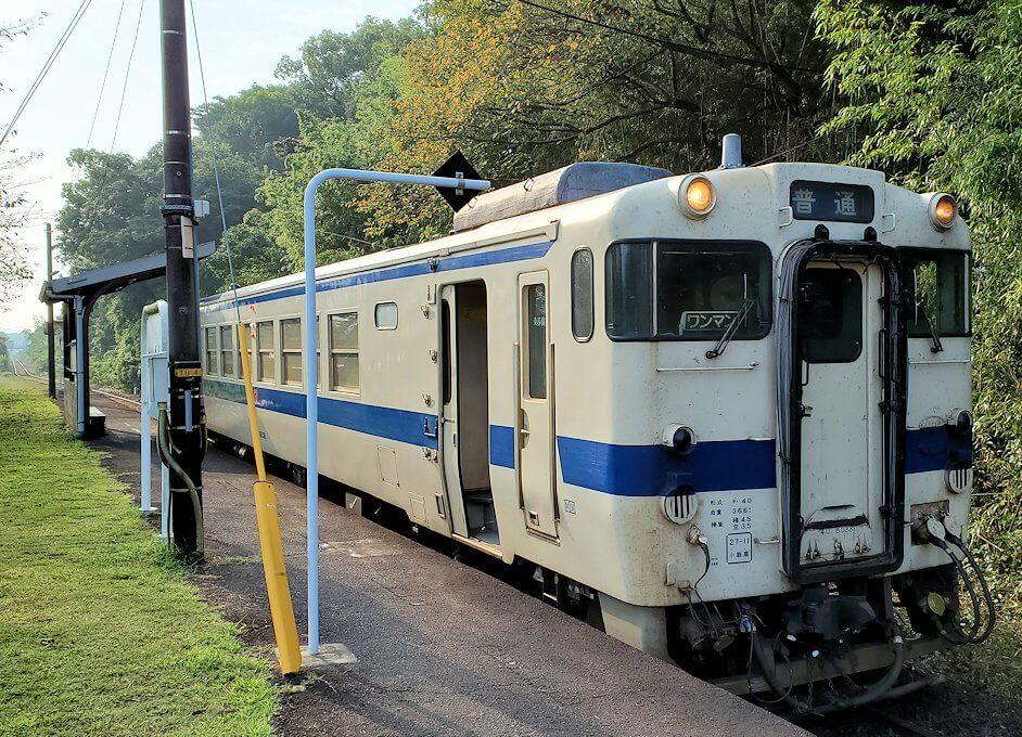 JR指宿枕崎線で開聞駅に到着