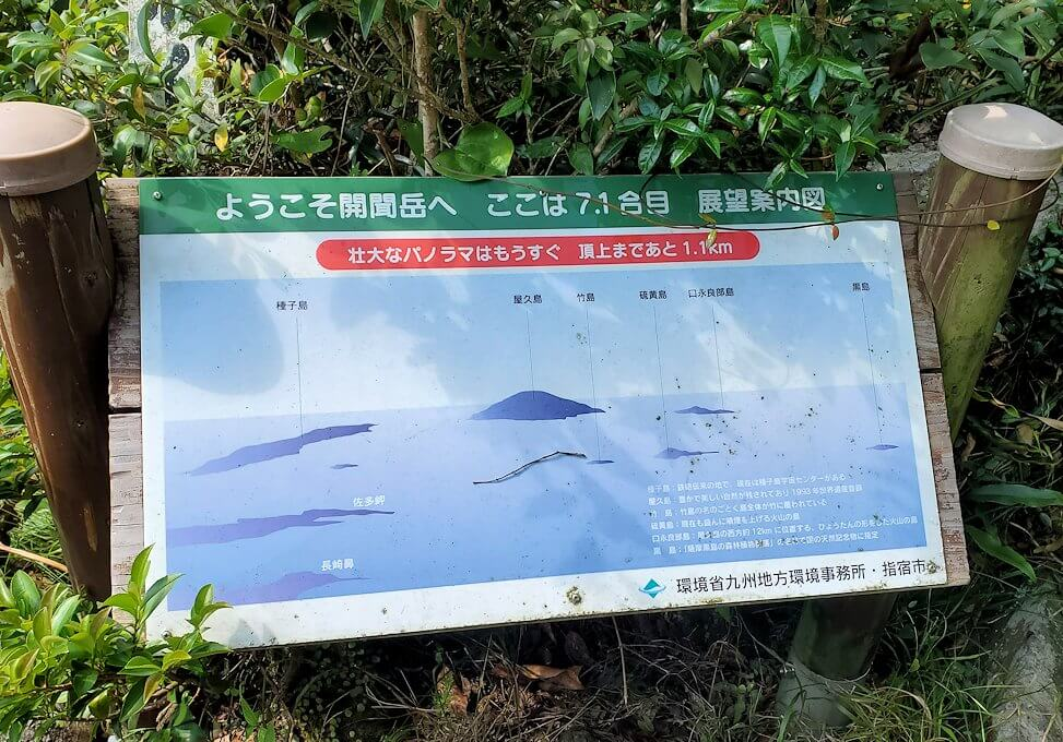 開聞岳登山道7合目近くから見えた景色の案内板