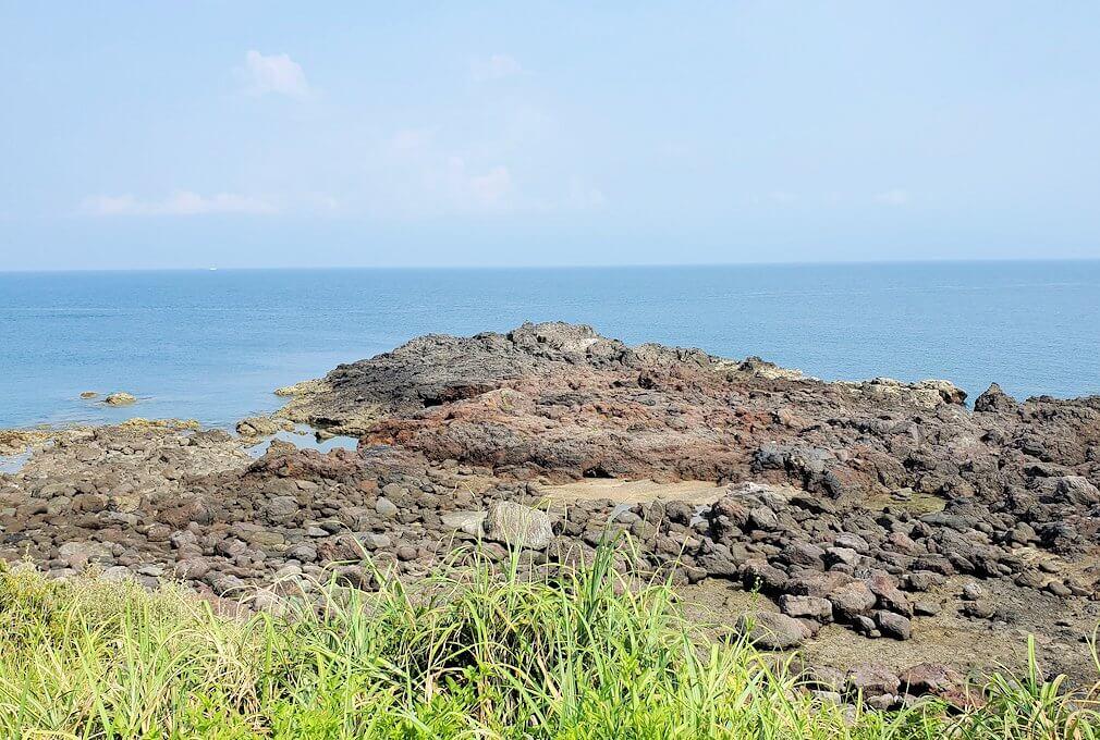 長崎鼻の先端から帰る際に開聞岳を眺める1