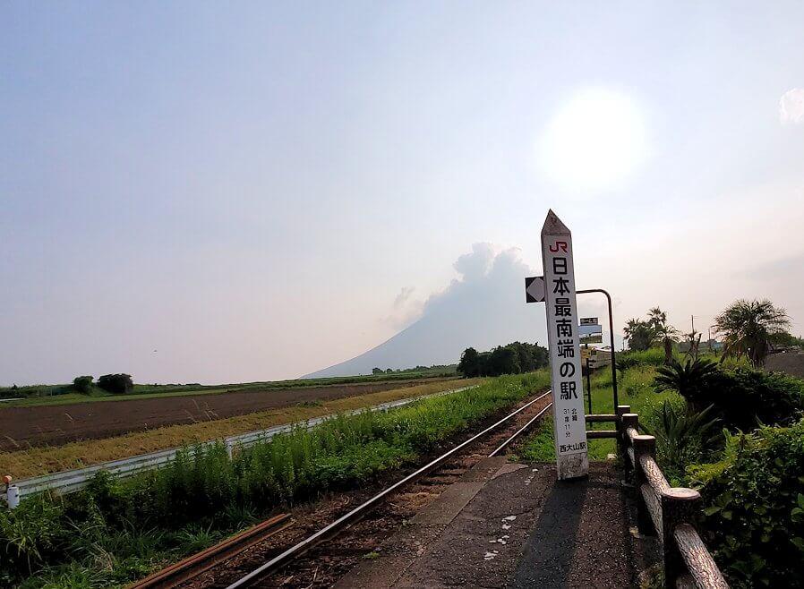 JR最南端「西大山駅」からの開聞岳の眺め