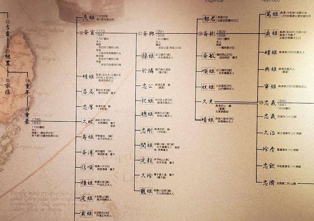 照国神社内資料館にある、島津家の系譜図1