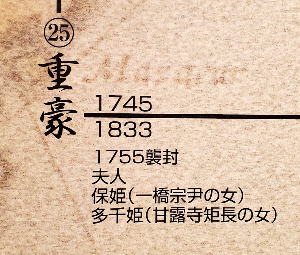 照国神社内資料館にある、島津家の系譜図の重豪