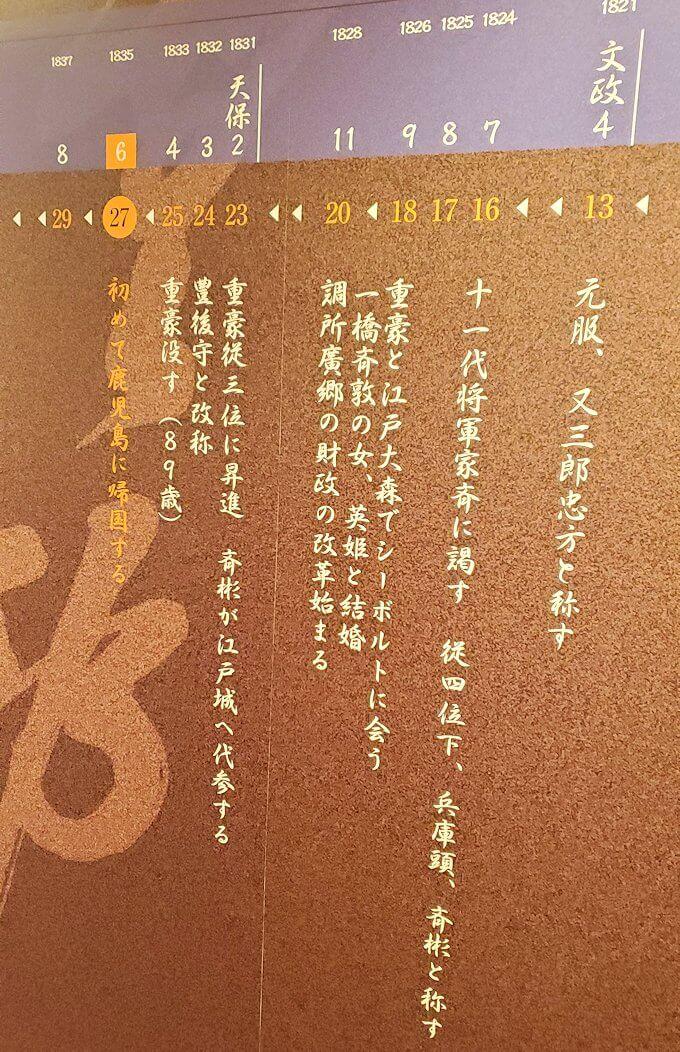 島津斉彬の歴史について書かれていたレリーフ2