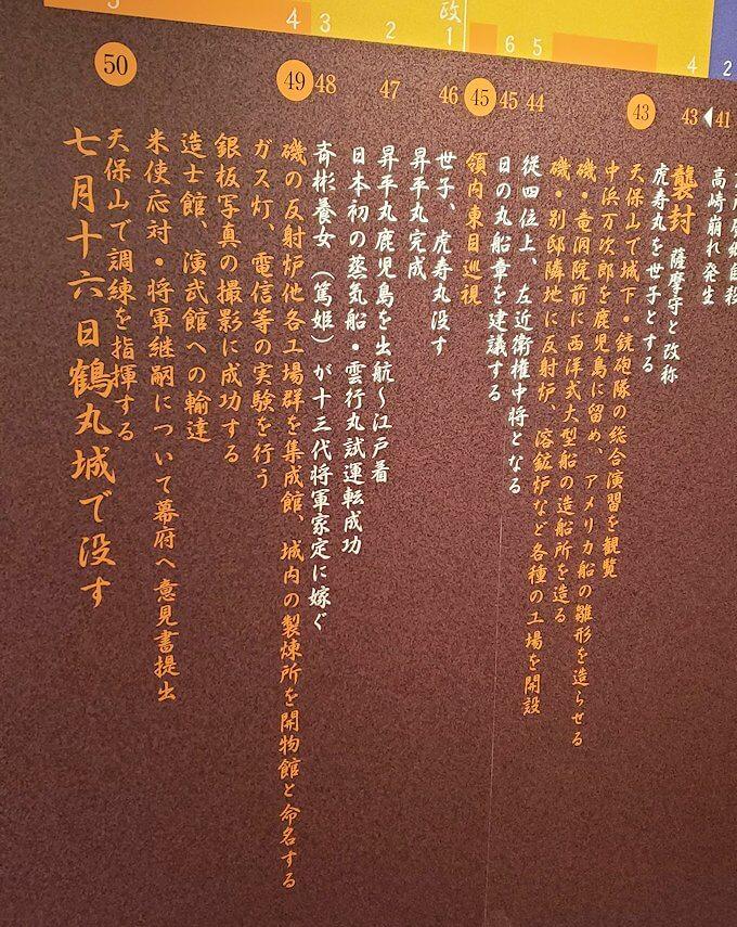 島津斉彬の歴史について書かれていたレリーフを眺める