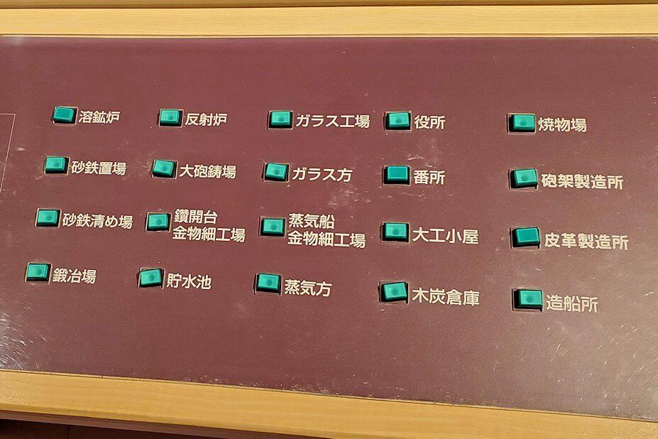 集成館跡の模型のボタン