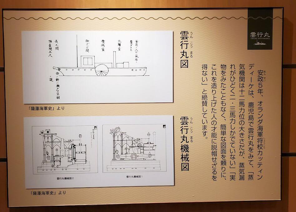 照国神社資料館にある、蒸気機関船についてのパネル1