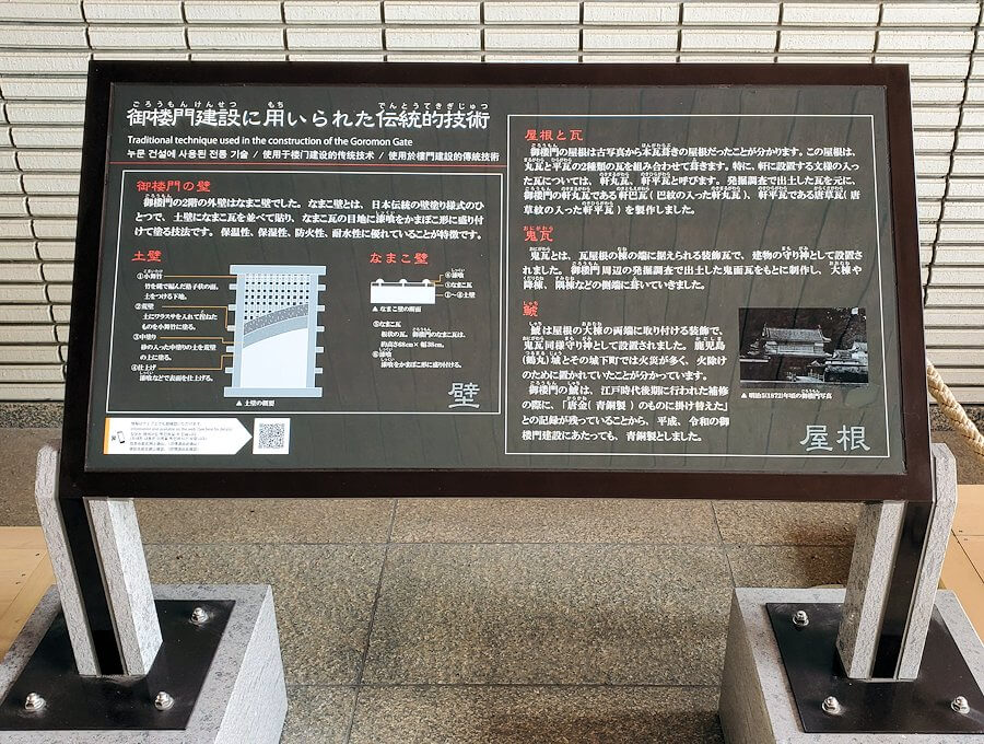 鶴丸城跡地の正門「御楼門」に使われている鬼瓦などの説明