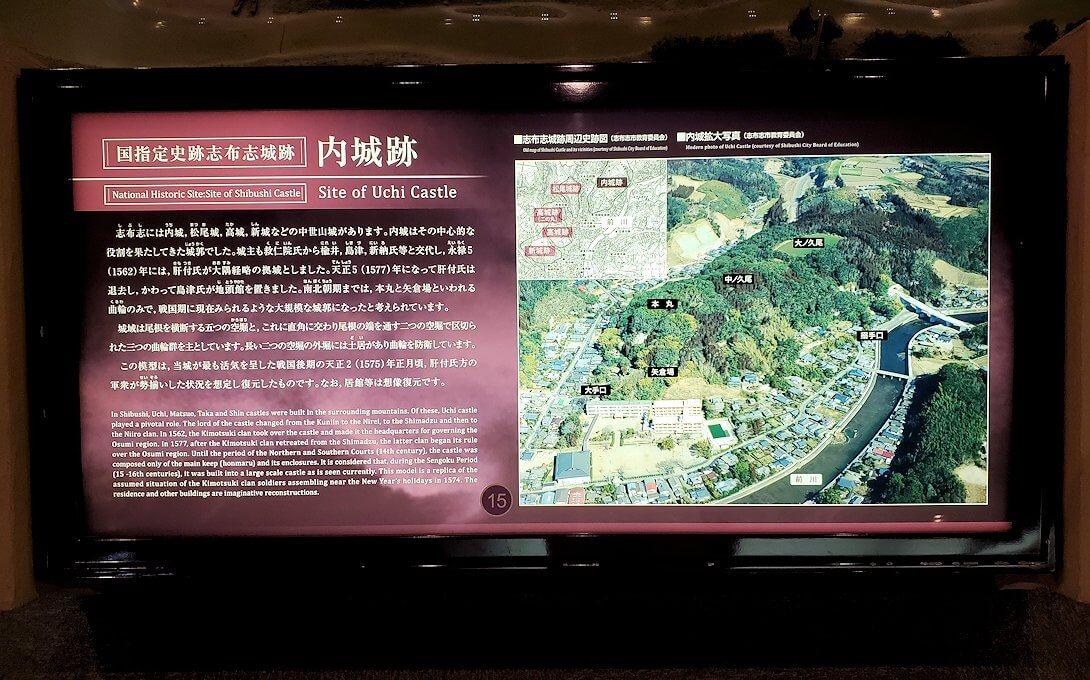 黎明館に置かれている志布志城跡の説明