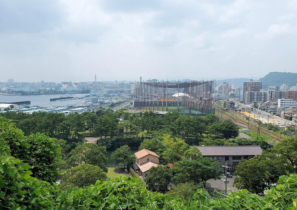 多賀城公園の高台から見下ろす多賀城公園の高台に設置されている、東郷平八郎の像が見下ろす鹿児島市内