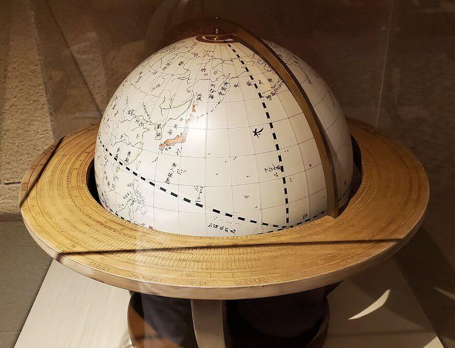 維新ふるさと館内にあった、地球儀