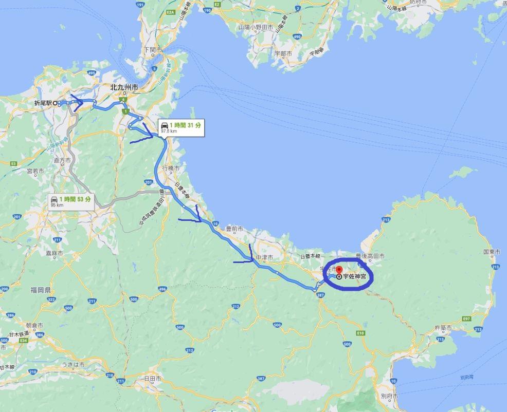 北九州から宇佐神宮へ車で移動するルート図