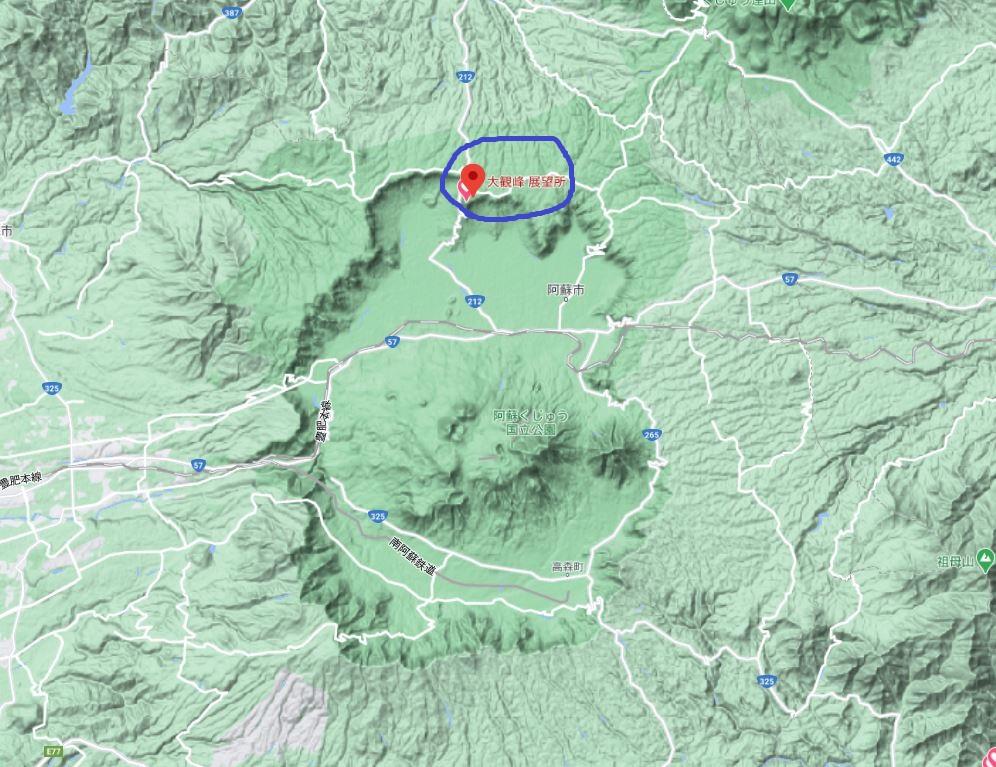 大観峰と阿蘇山周辺のカルデラ