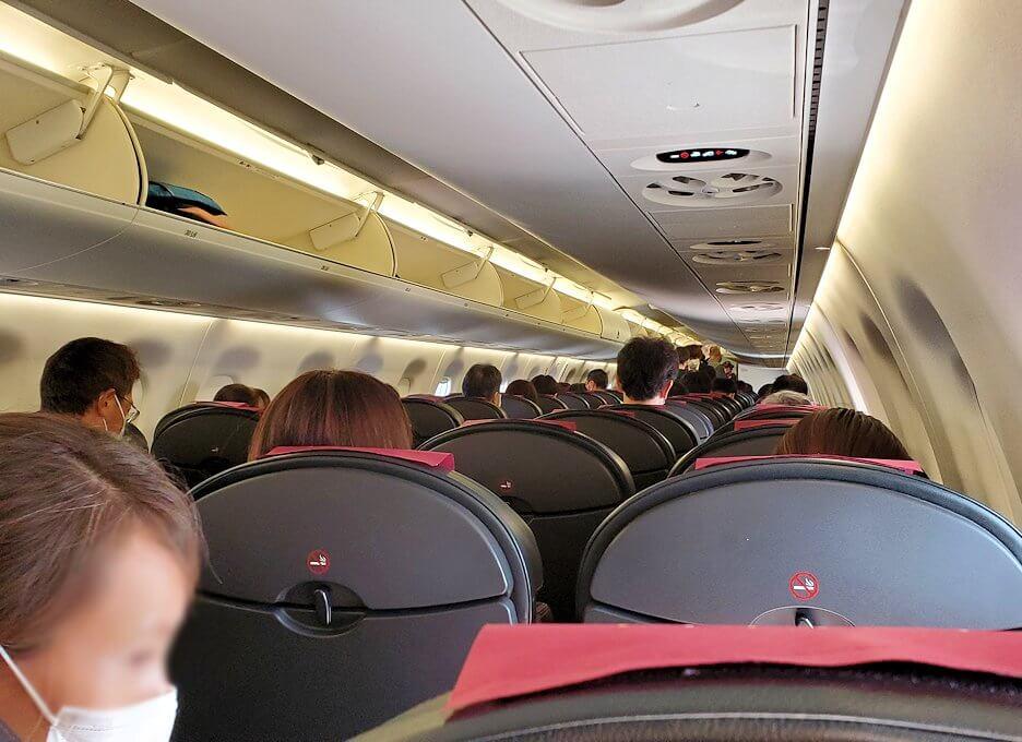札幌へ向かう飛行機機内