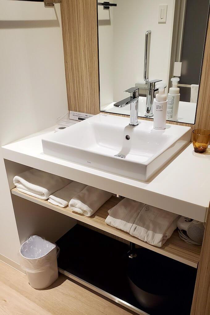 「JR東日本ホテルメッツ札幌」のシングルルームの手洗い場
