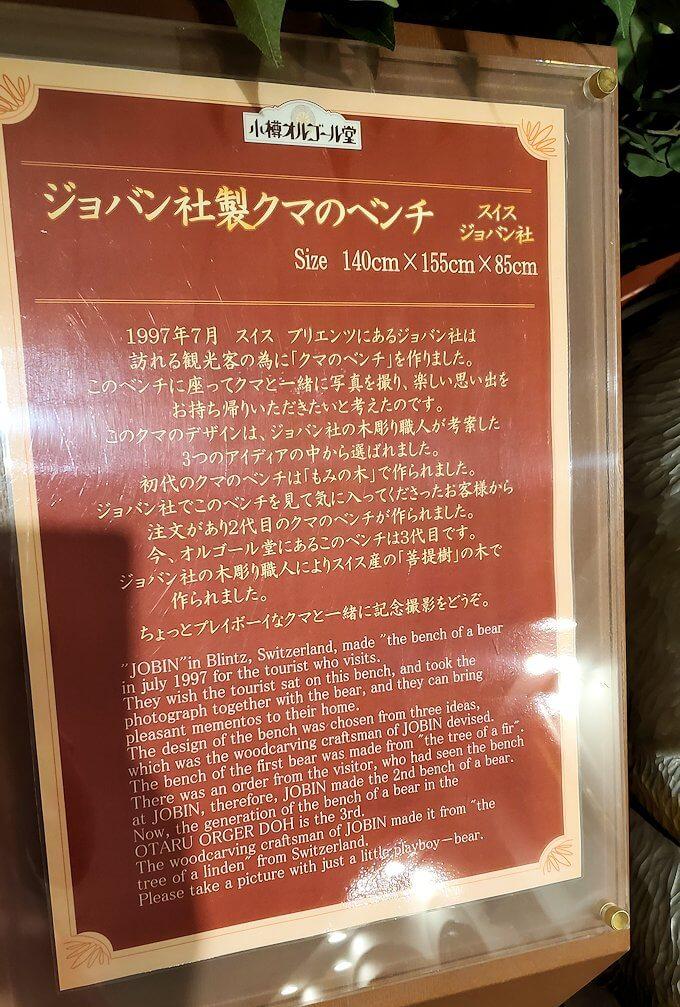 「小樽オルゴール堂:2号館」で展示されている熊の置物の説明