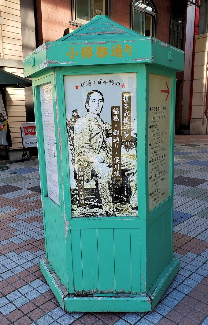 小樽の街のアーケード街のパネル