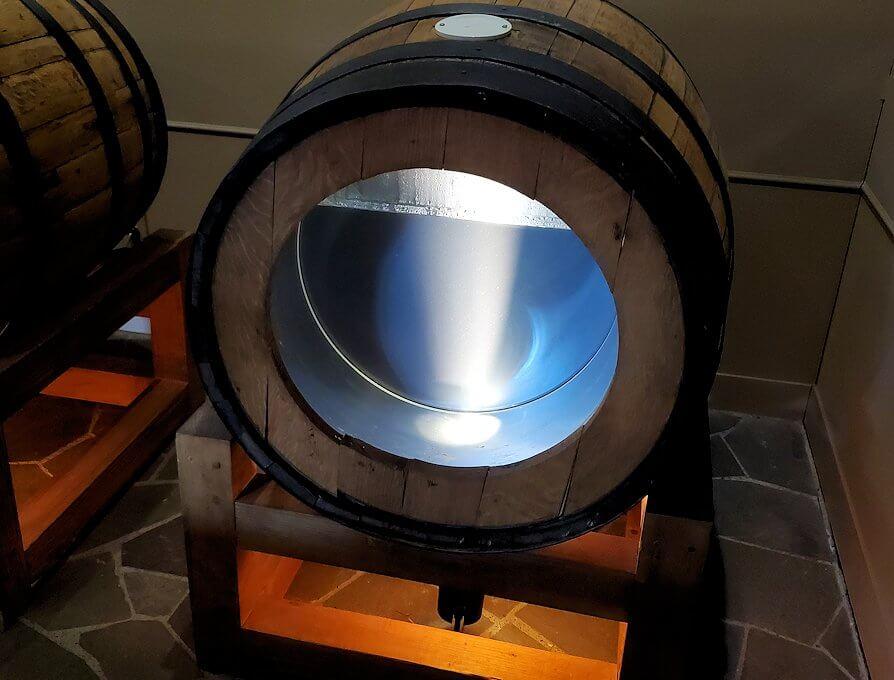 余市町のウイスキー博物館内にあった、エンジェルズシェアの見本