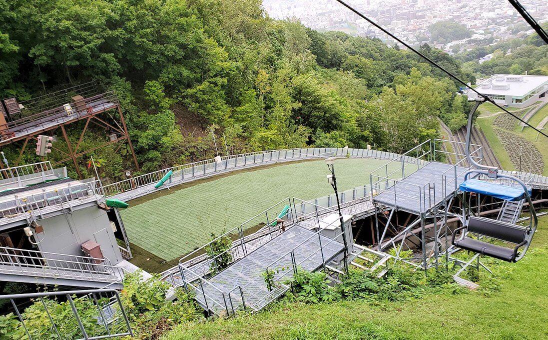 大倉山ジャンプ競技場の頂上から降りる景色