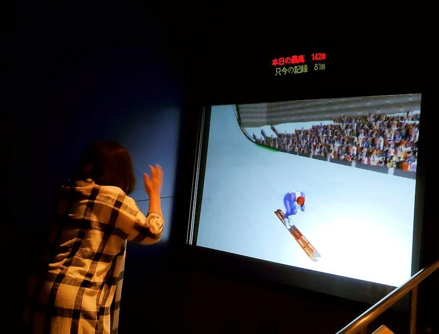 札幌オリンピックミュージアムの体験コーナー、ジャンプ競技を体験1