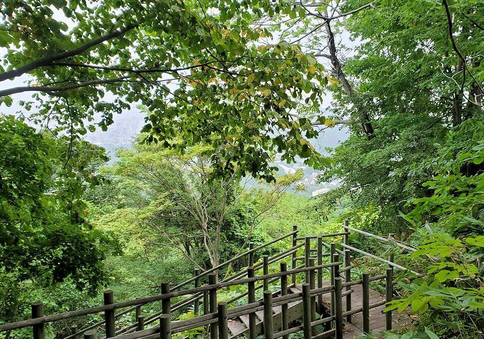 大倉山ジャンプ台を登る途中の展望台から更に登る3