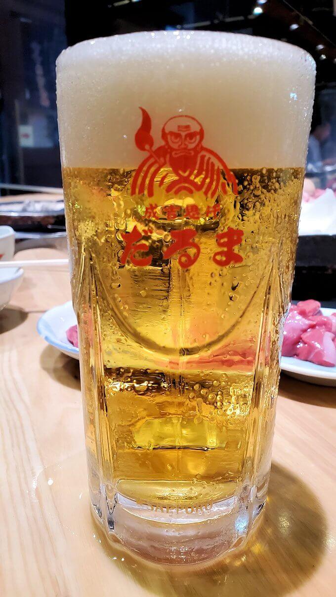 ススキノ「だるま6・4店」で出てきた生ビール中