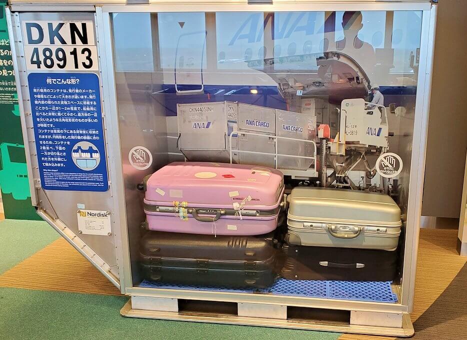 新千歳空港「大空ミュージアム」に展示されている、荷物コンテナー