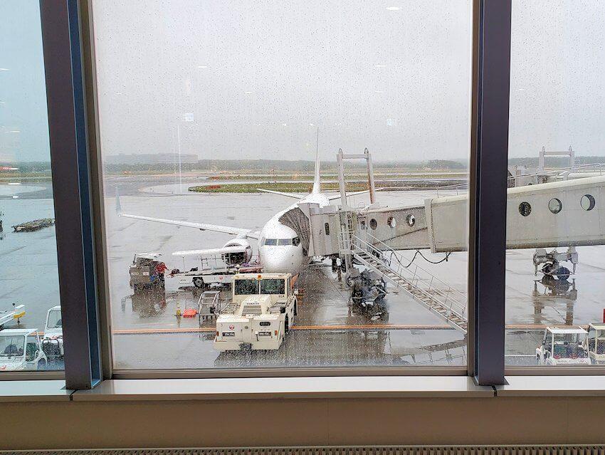 新千歳空港の国内線ターミナルから眺める飛行機