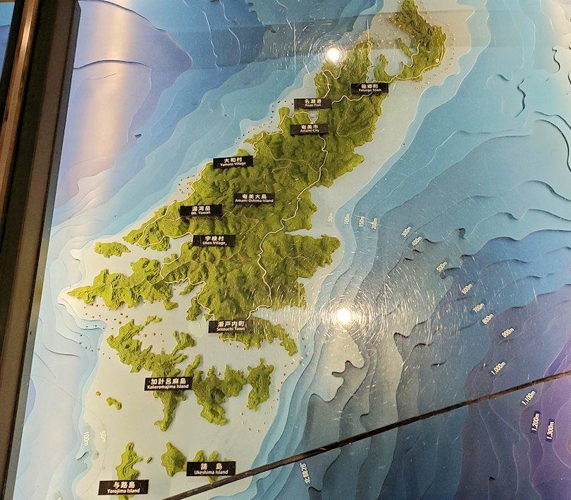 南北に広い領域の鹿児島県