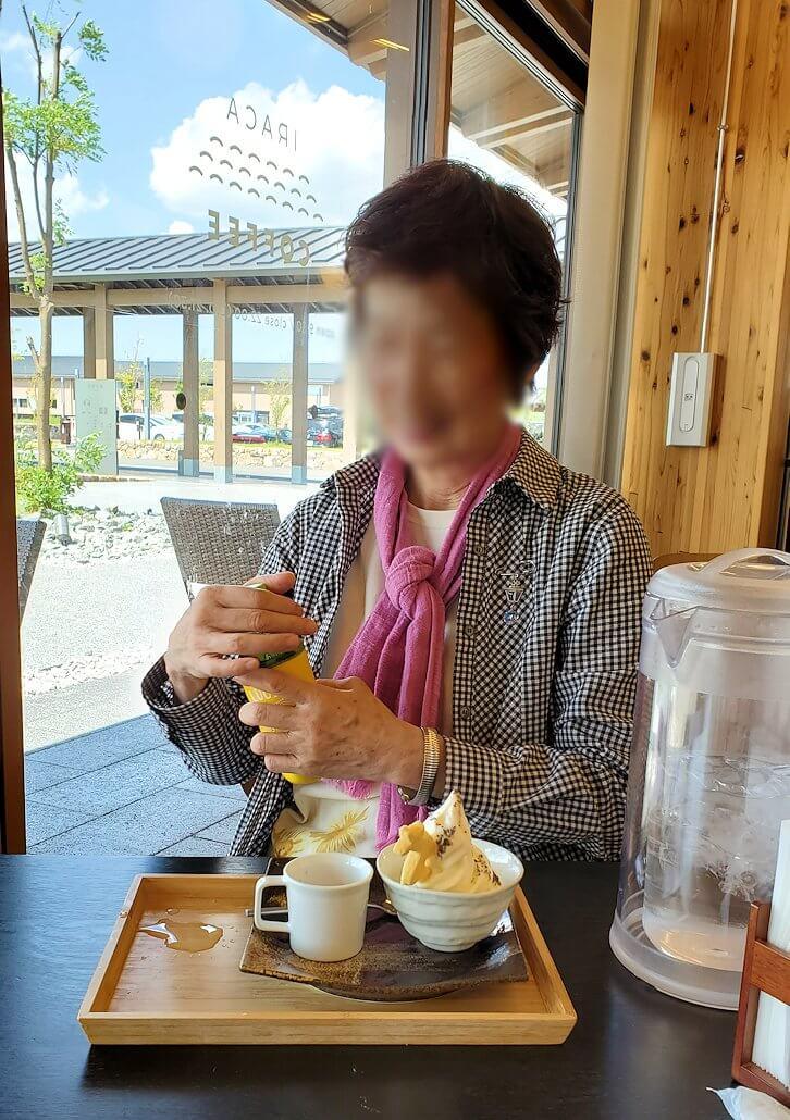 平城京跡にある食事処でアイスを食べる
