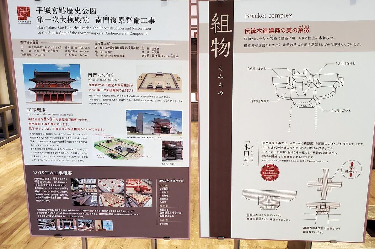 平城京跡の復原事業情報館にある木組みの説明
