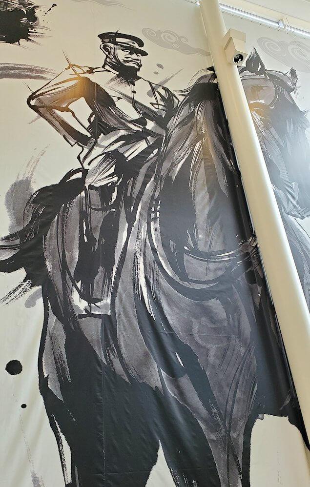 松山城ロープウェイ乗り場内に描かれていた大きな絵1