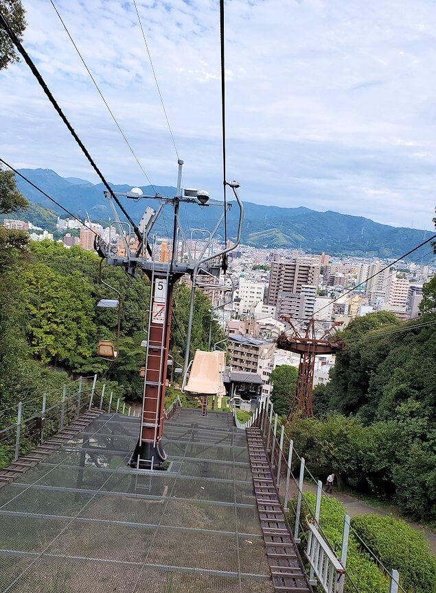 松山城本丸へ昇るリフトからの景色3