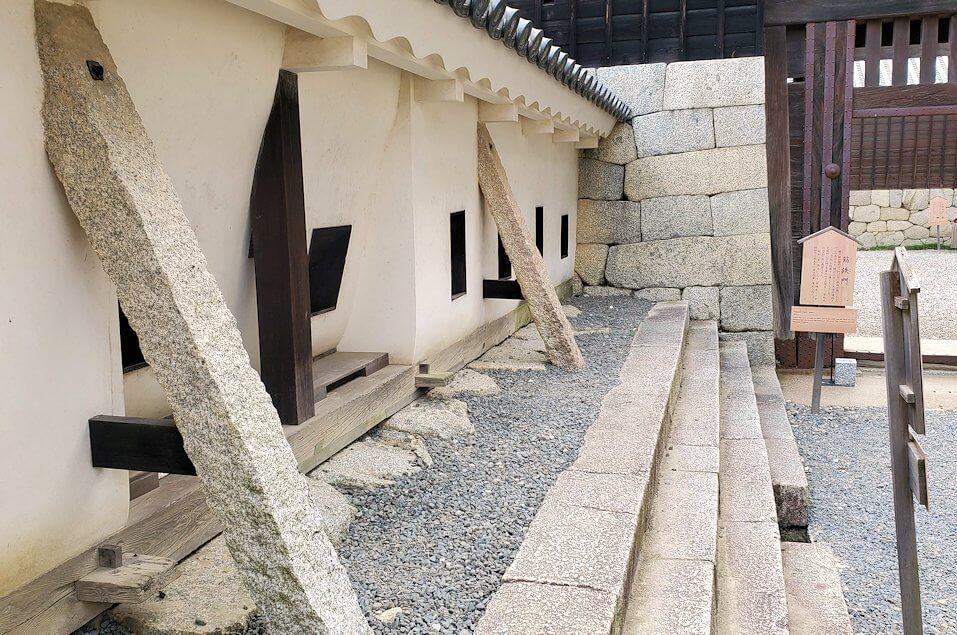 松山城本壇の「三ノ門」脇にあった「筋鉄門東塀」