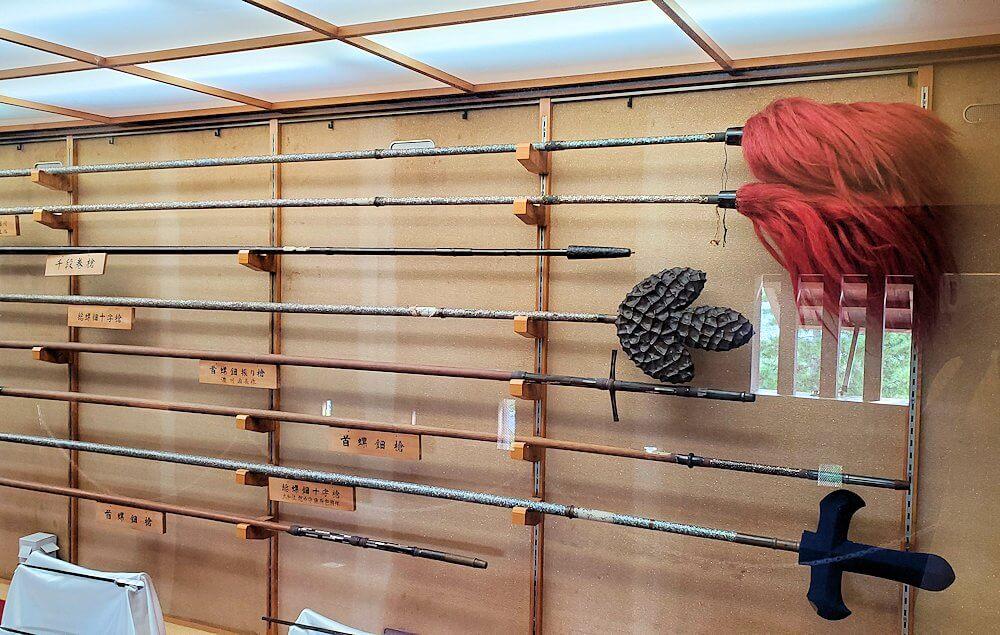 松山城大天守内2階に展示されている槍