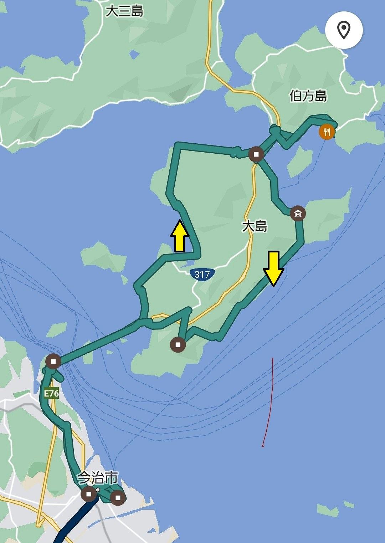今治からしまなみ海道サイクリングのルート