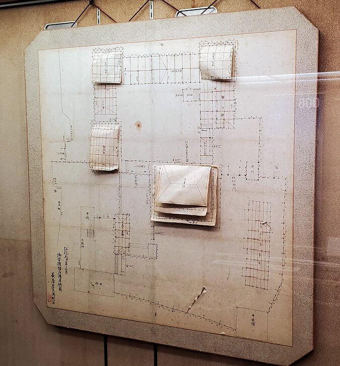 松山城天守閣内の展示されている城の図