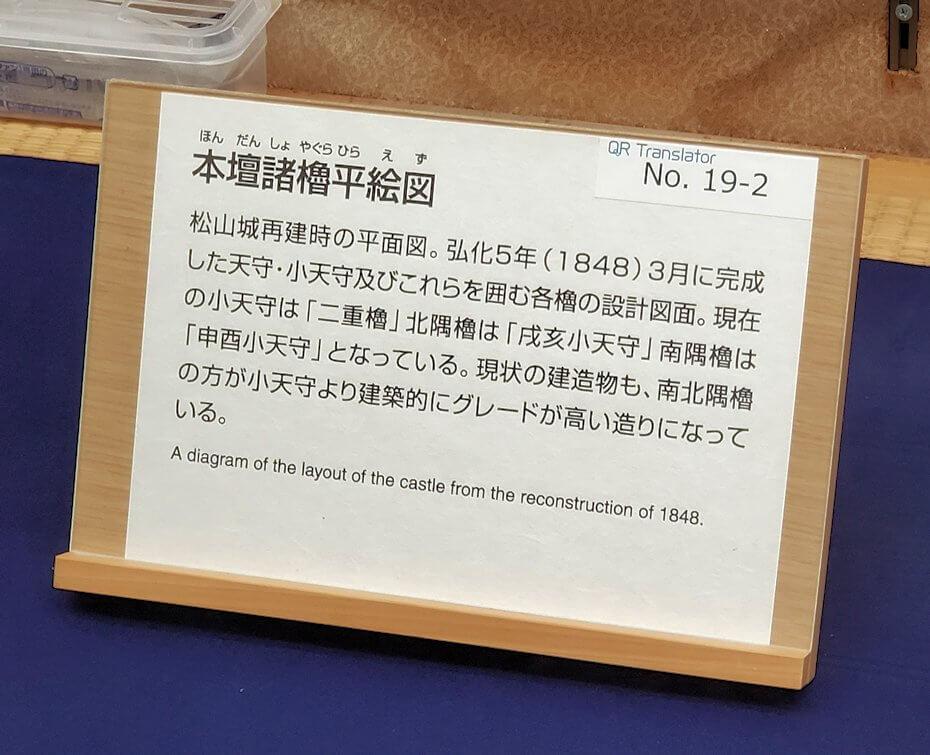 松山城天守閣内の展示されている城の図の説明