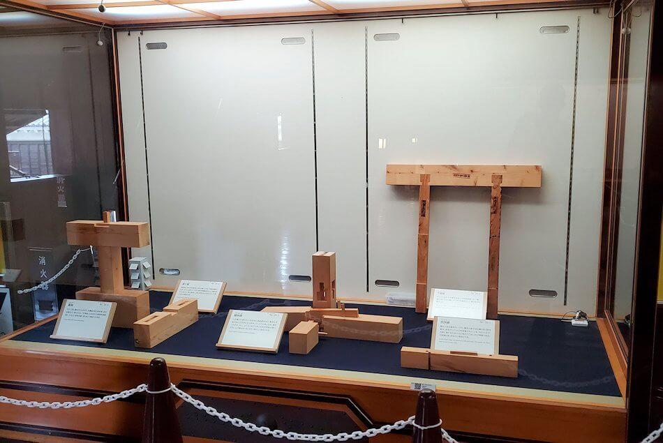 松山城天守閣内の展示されている木組の部材3