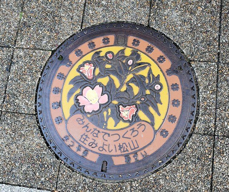 二之丸史跡庭園から松山市内へ歩いて向かう途中に見えるマンホール
