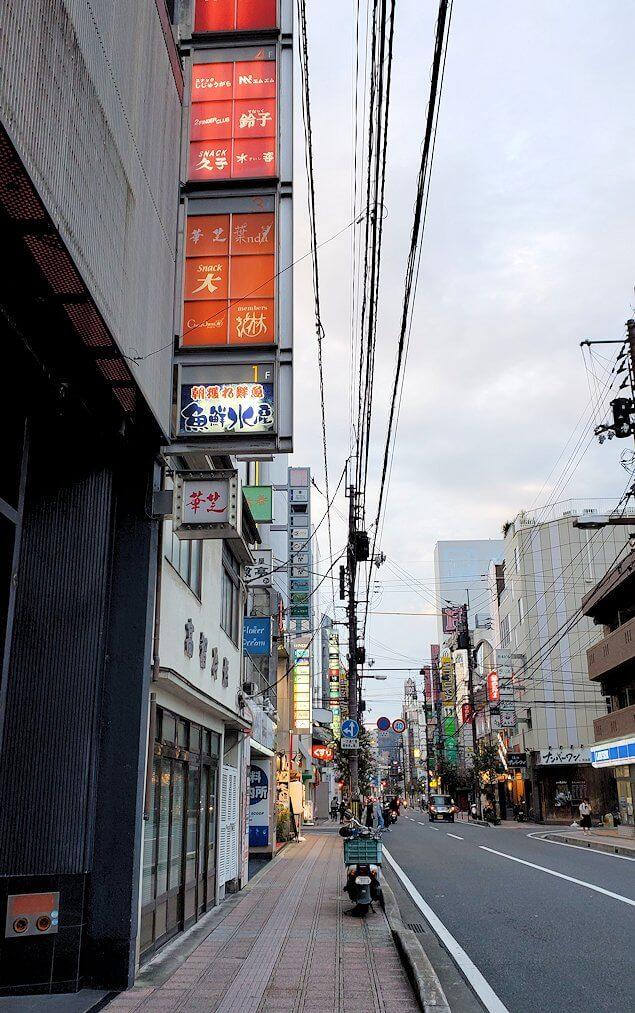 松山市内の大街道近くの繁華街