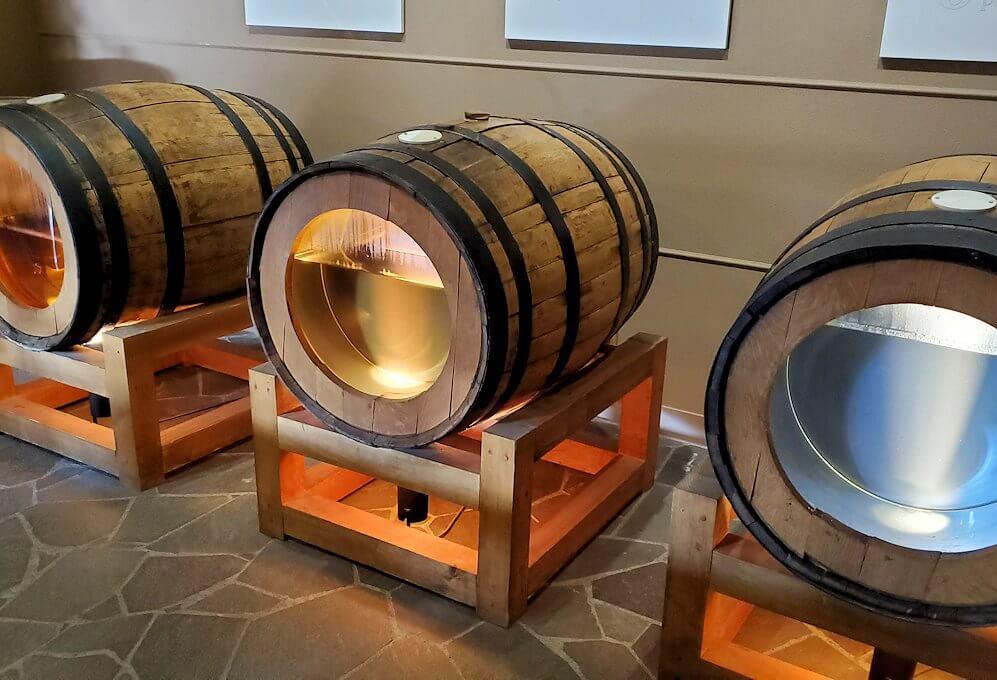 ウイスキー博物館に展示されている、15年熟成樽のウイスキー量